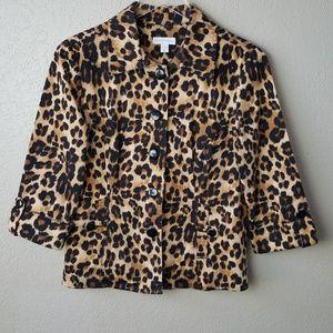 Charter Club Leopard Animal Print Blazer Jacket S